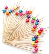 "Putwo PuTwo Cocktail Picks Bamboo Handmade Appetizer Toothpicks Sticks 4.7"" 100ct Assorted Color Stars"