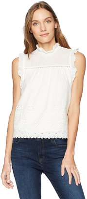 J.o.a. Women's HIGH Neck Sleeveless Ruffle Detail Eyelet LACE TOP