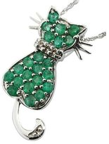 Anderson & Webb Sterling Silver Cat Pendant With Emeralds And Diamonds + Free Earrings