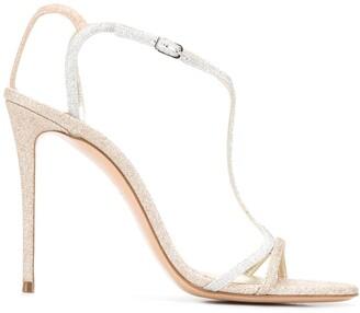 Casadei Two-Tone Glitter Sandals