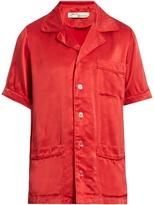 Off-White Short-sleeved sandwashed-satin shirt