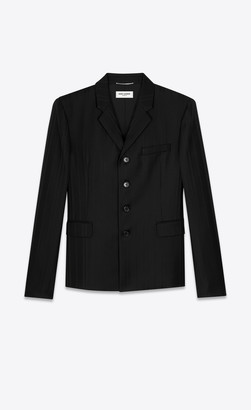 Saint Laurent Blazer Jacket Four-button Jacket With Irregularly Striped Jacquard Black 34