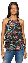 Amy Byer A. Byer Juniors Halter Printed 3-Tier Tank Top, Pat n, XL