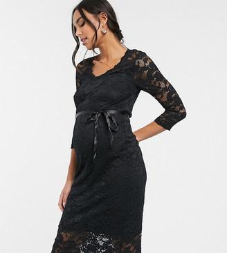 Mama Licious Mamalicious Maternity lace midi dress with waist detail in black