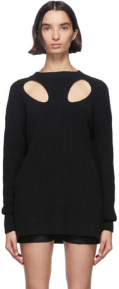 Ann Demeulemeester Black Cut-Out Hawke Crewneck Sweater
