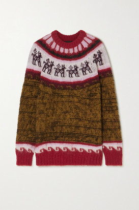 Miu Miu Oversized Fair Isle Alpaca-blend Sweater - Brown