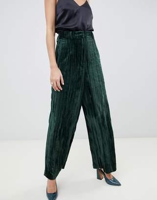 Asos wide leg velvet pants-Green