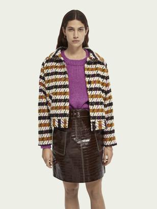 Scotch & Soda Wool-blend houndstooth jacket   Women