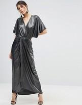 Asos Metallic Wrap Kimono Maxi Dress