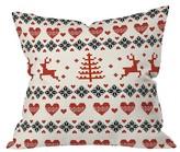 "DENY Designs Red Geometric Natt Knitting Red Deer White Hearts Throw Pillow (16""x16"