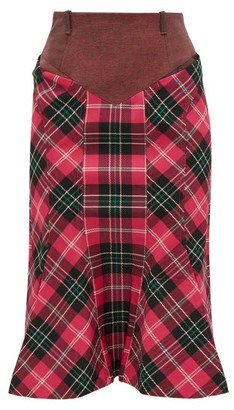 Marine Serre Fluted-hem Denim And Tartan Pencil Skirt - Pink Multi