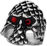 Sabrina Silver Surgical Steel Biker Ring Gothic Skull with Scaly Armor Red CZ Eyes 1 3/16 inch long, size 11