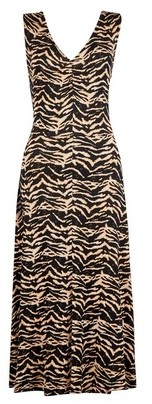 Dorothy Perkins Womens Tall Black Zig Zag Print Midi Dress, Black
