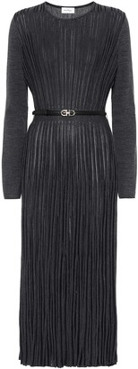 Salvatore Ferragamo Pleated wool-blend midi dress
