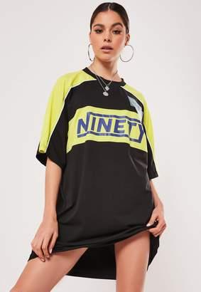 Missguided Black Slogan Colourblock Oversized T Shirt Dress