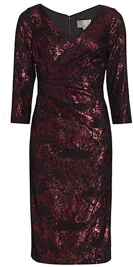 Theia Stretch Jacquard Cocktail Dress