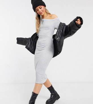 Outrageous Fortune exclusive slash neck open back midi sweat dress in gray marl