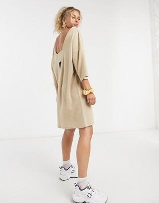 Noisy May midi dress with cut out in beige
