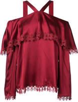 Jonathan Simkhai lace trimmed bardot blouse