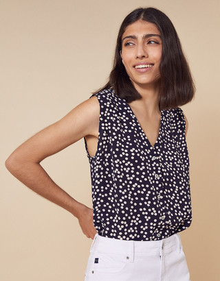 Monsoon Dulce Spot Print Top in Sustainable Viscose Blue