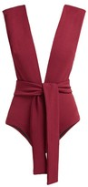 Haight Plunge-neck Tie-waist Swimsuit - Womens - Burgundy