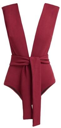 Haight Plunge Neck Tie Waist Swimsuit - Womens - Burgundy