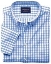 Charles Tyrwhitt Classic fit non-iron poplin short sleeve sky blue check shirt