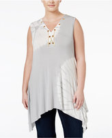 Belldini Plus Size Tie-Dyed Lace-Up Top