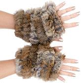 Jocelyn Rabbit Fur Fingerless Mittens