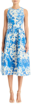 Carolina Herrera Tie-Dye Printed Sleeveless A-Line Midi Dress