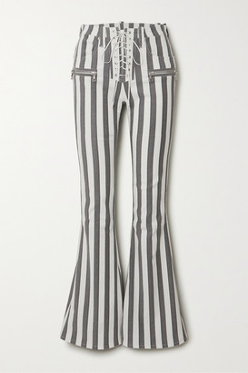 Unravel Project Lace-up Striped Cotton-blend Flared Pants - Black