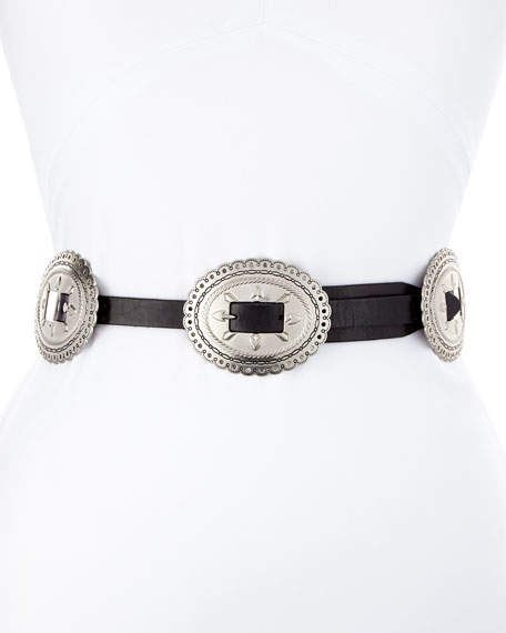 Rebecca Minkoff Flat Leather Belt w/ Conchos Harness Buckle