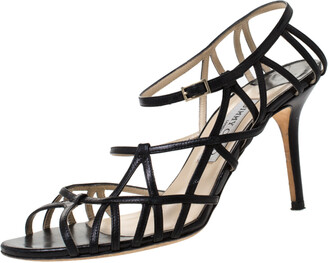 Jimmy Choo Black Leather Strappy Ankle Strap Sandals Size 40.5