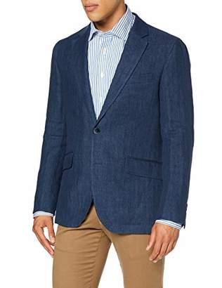 Hackett London Men's Delave Linen Hbone Blazer, Blue ( 595), Small (Manufacturer Size: 38)
