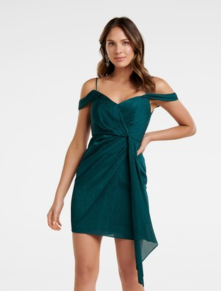 Forever New Amberley Draped Wrap Mini Dress - Evening Forest - 14