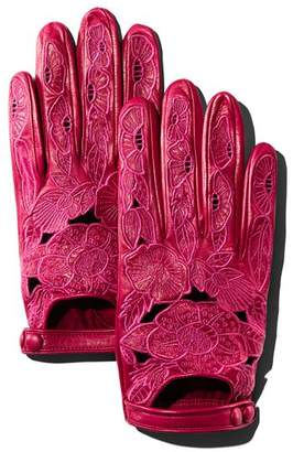Portolano Embroidered Leather Driver Gloves