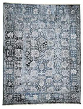 """Pippa Isabelline One-of-a-Kind Tabriz Hand-Knotted 9'2"""" x 11'8"""" Wool/Silk Gray Area Rug Isabelline"""
