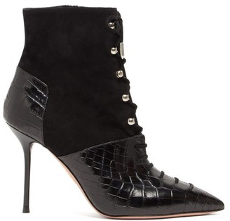 Aquazzura Berlin 95 Crocodile-effect Leather Boots - Womens - Black