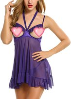 Avidlove Womens Open Cup Sexy Halter Strappy Lingerie Cupless Chemises Babydoll L