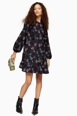 Topshop Womens Petite Ruffle Heart Star Mini Dress - Multi