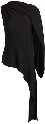 Monse Shifted Shoulder Draped Turtleneck Knit Top
