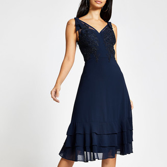 River Island Chi Chi London navy lace dress