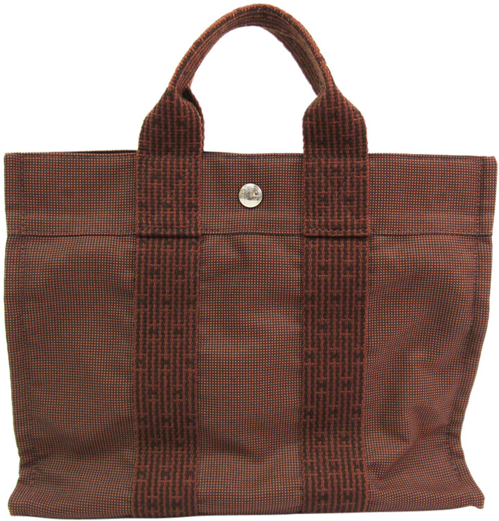 Thumbnail for your product : Hermes Brown Canvas Herline PM Tote Bag