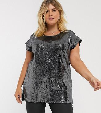 New Look Plus Curve sequin top in black