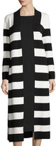 Joan Vass Striped Cotton Milano Long Coat