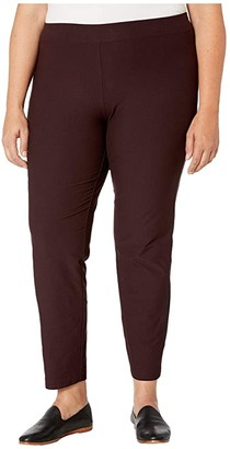 Eileen Fisher Plus Size Washable Stretch Crepe Slim Ankle Pants w/ Yoke (Cassis) Women's Casual Pants