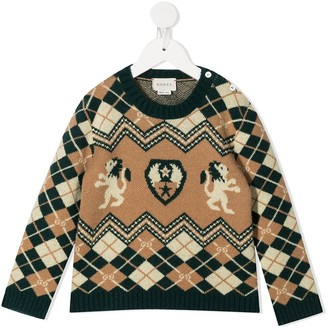 Gucci Kids Argyle Knit Buttoned Jumper