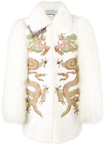 Gucci dragon embroidered coat - women - Silk/Goat Fur/Mink Fur/glass - 40