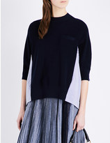 Sacai Contrast-back knitted and cotton top