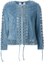 Blumarine lace-up jacket - women - Nubuck Leather - 44